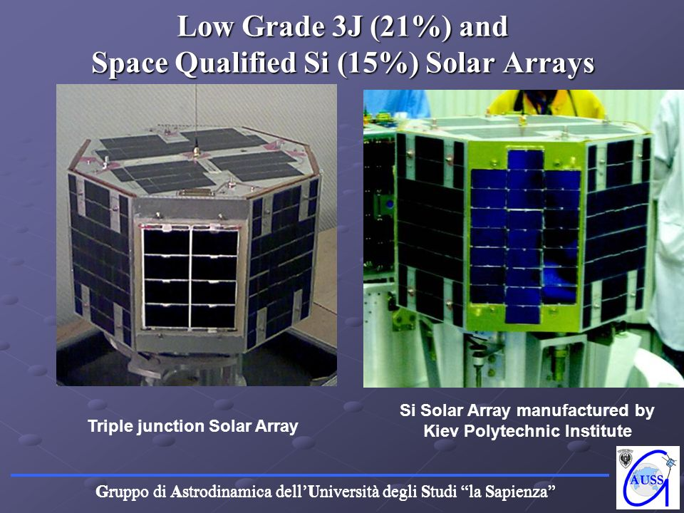 Low Grade 3J (21%) and Space Qualified Si (15%) Solar Arrays