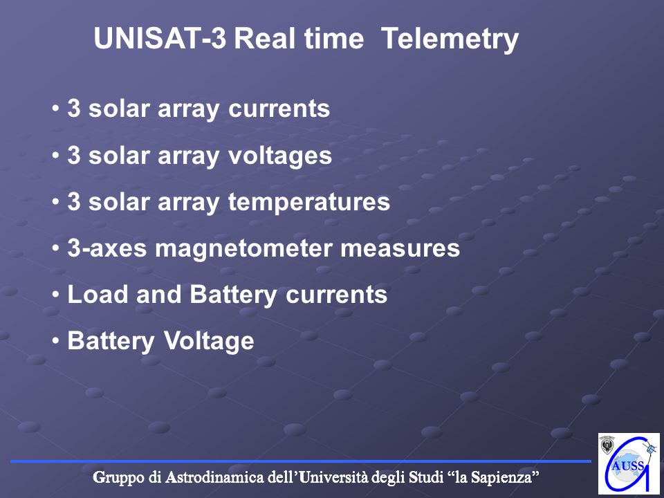 UNISAT-3 Real time Telemetry