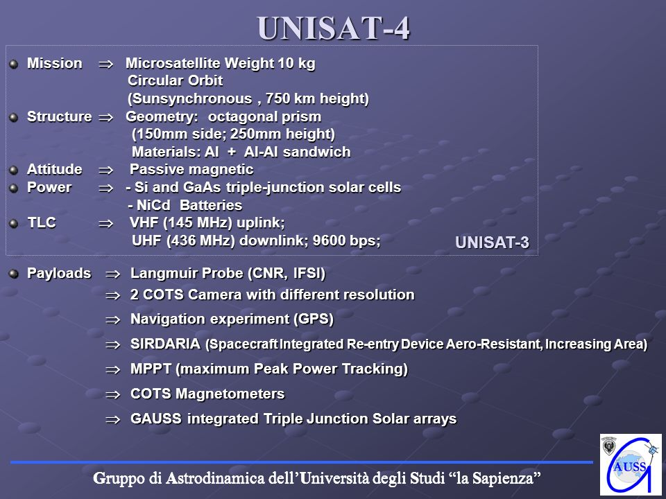 UNISAT-4 UNISAT-3 Mission  Microsatellite Weight 10 kg Circular Orbit