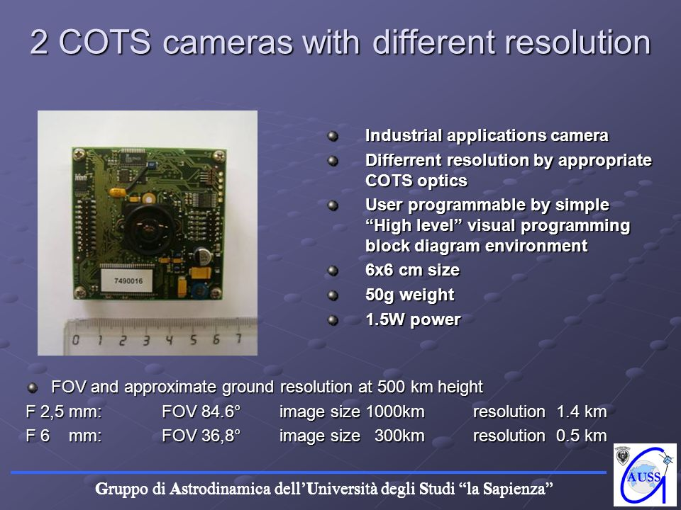 2 COTS cameras with different resolution