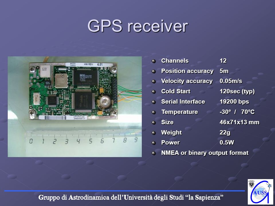 GPS receiver Channels 12 Position accuracy 5m