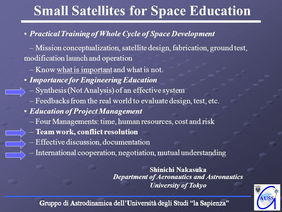 Small Satellites for Space Education