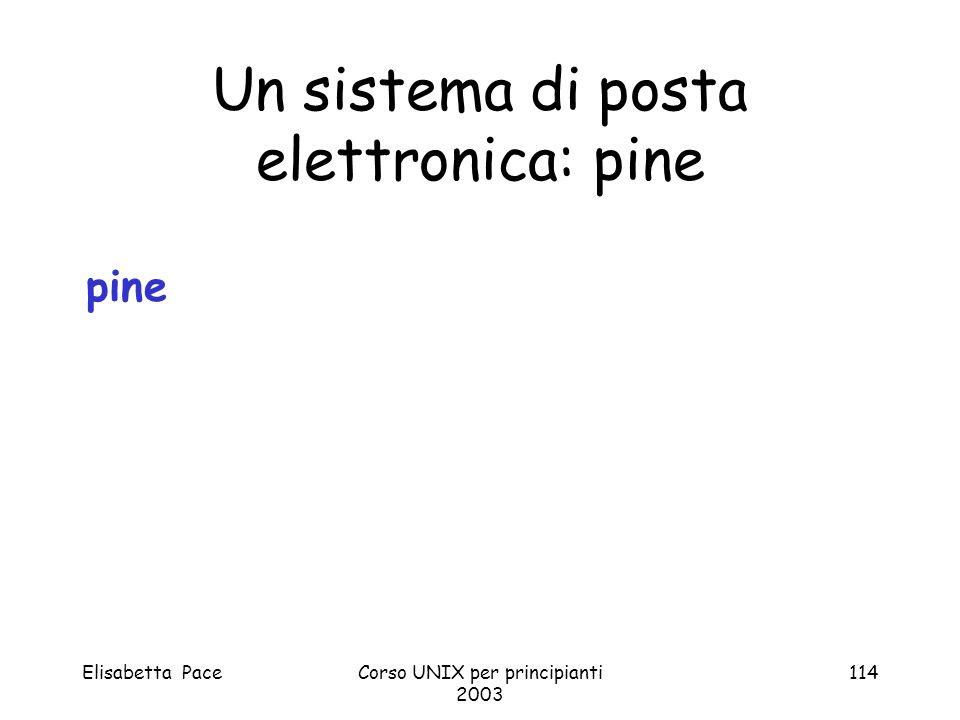 Un sistema di posta elettronica: pine
