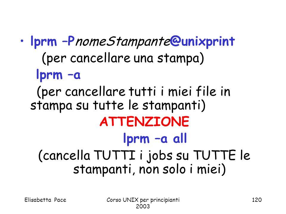 lprm –PnomeStampante@unixprint (per cancellare una stampa) lprm –a