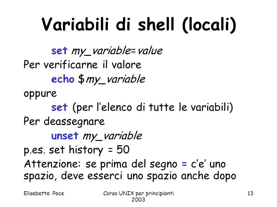 Variabili di shell (locali)