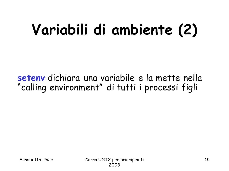 Variabili di ambiente (2)