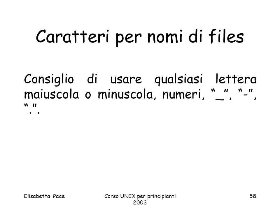 Caratteri per nomi di files