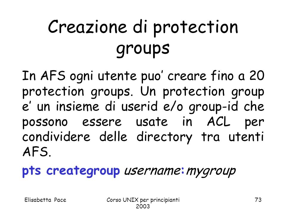 Creazione di protection groups