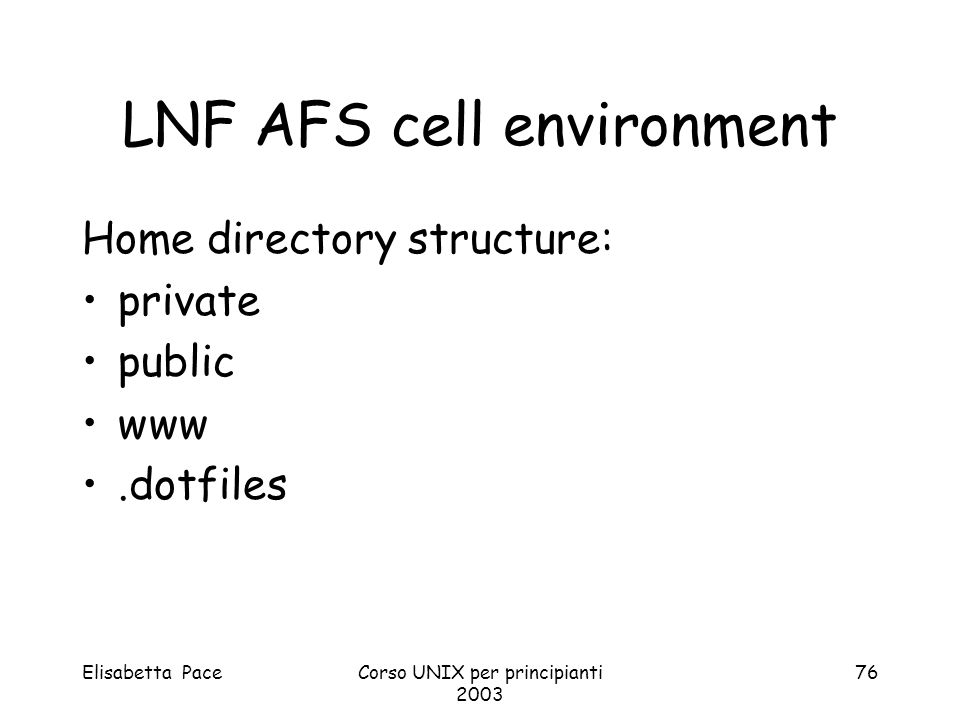 LNF AFS cell environment