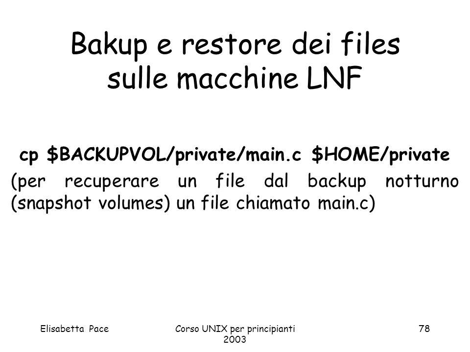 Bakup e restore dei files sulle macchine LNF
