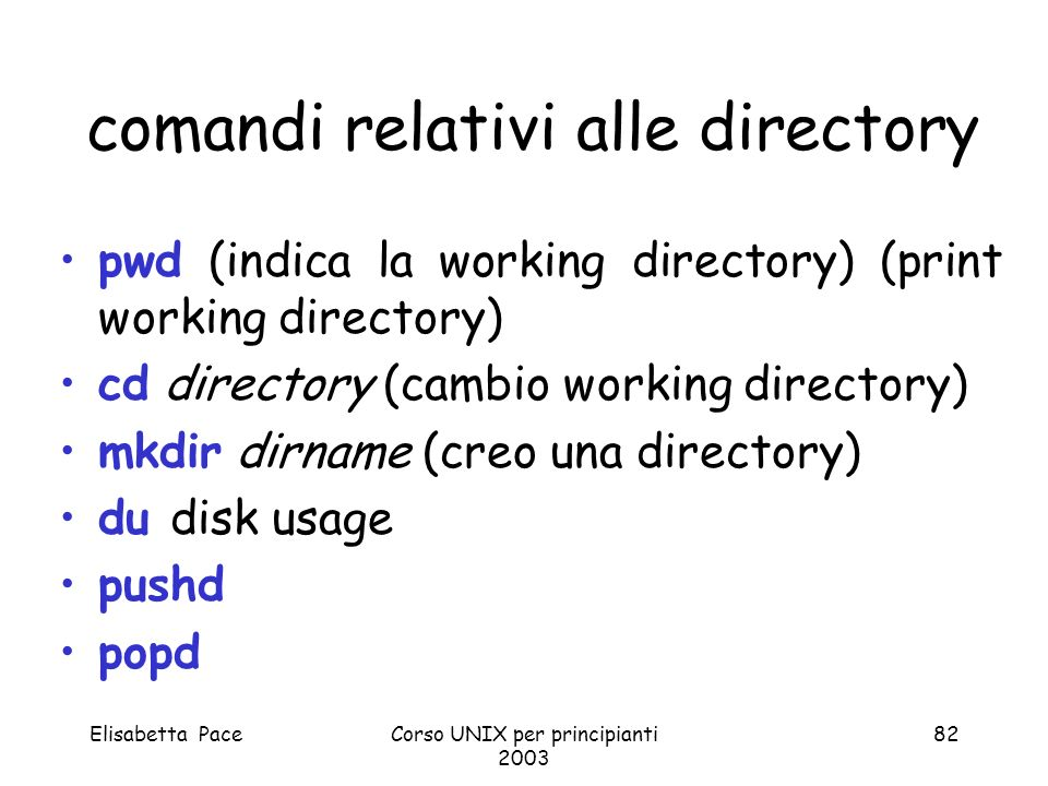 comandi relativi alle directory