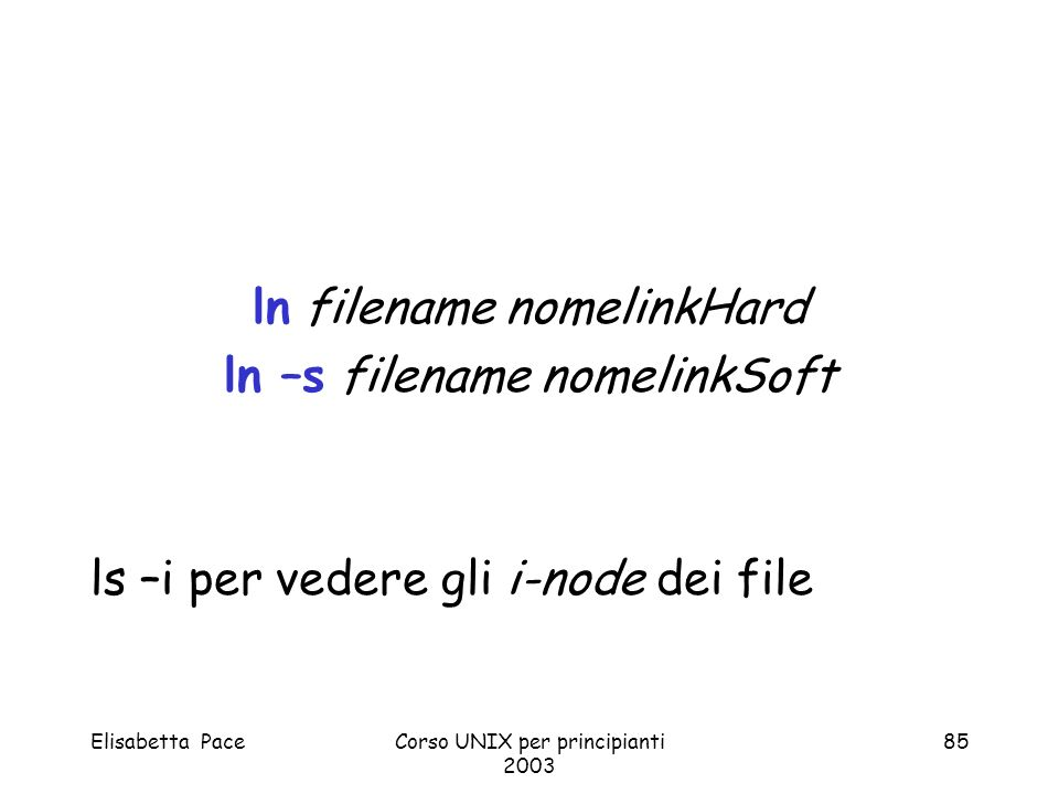 ln filename nomelinkHard ln –s filename nomelinkSoft