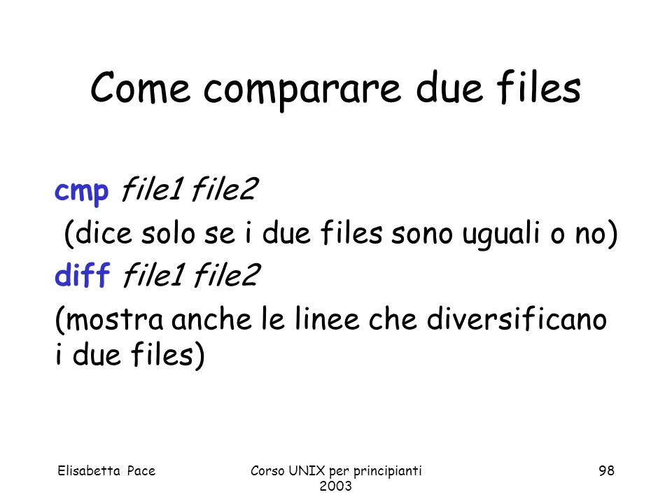 Come comparare due files