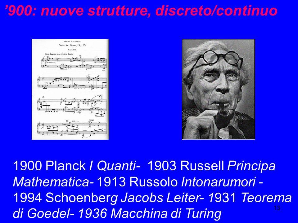 '900: nuove strutture, discreto/continuo