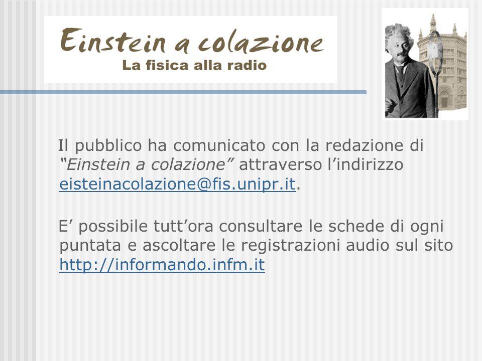 Il pubblico ha comunicato con la redazione di Einstein a colazione attraverso l'indirizzo eisteinacolazione@fis.unipr.it.