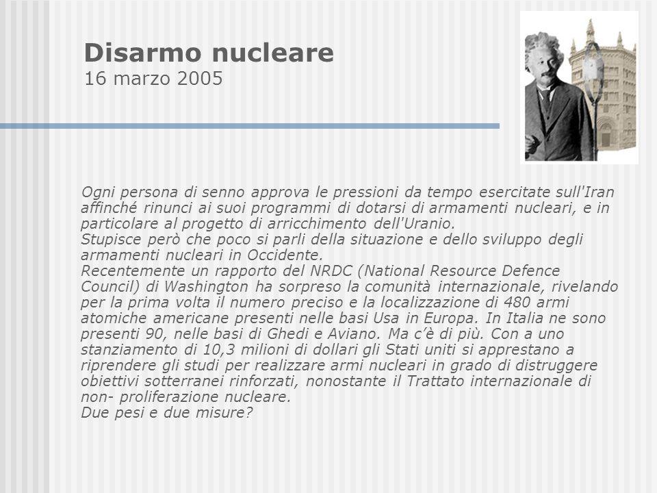 Disarmo nucleare 16 marzo 2005