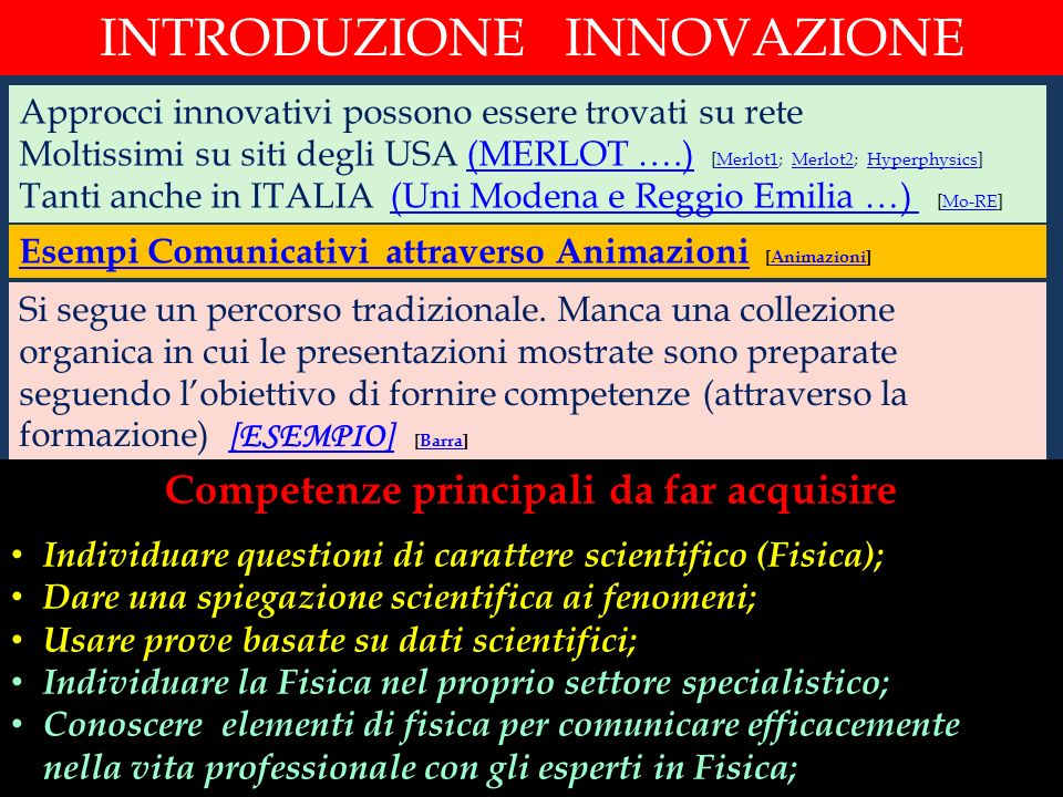 Competenze principali da far acquisire