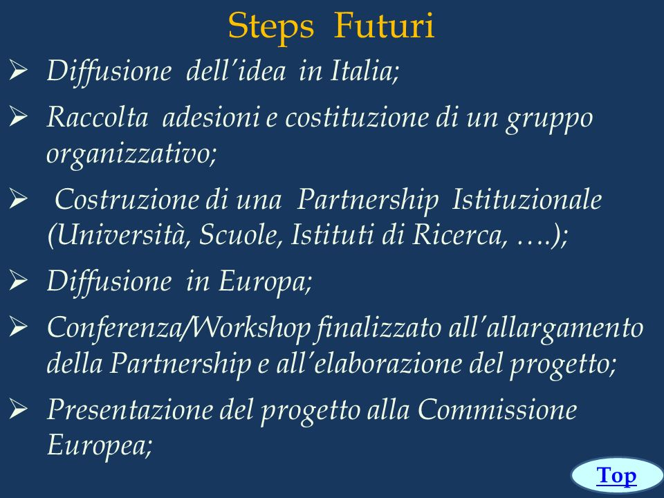 Steps Futuri Diffusione dell'idea in Italia;