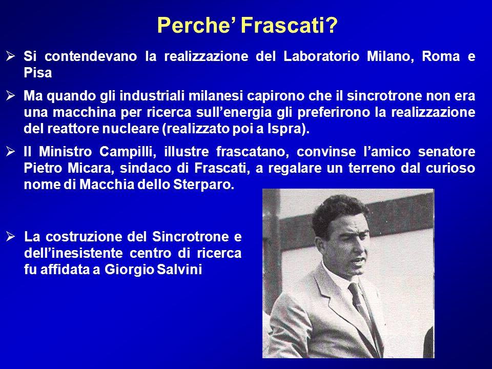 Perche' Frascati Si contendevano la realizzazione del Laboratorio Milano, Roma e Pisa.