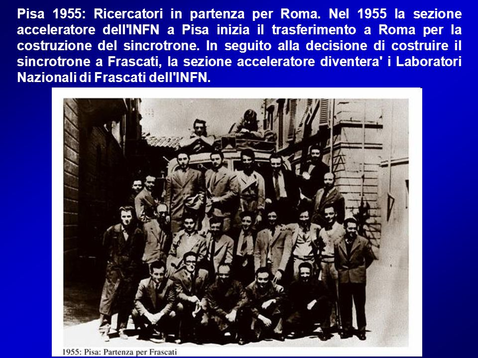 Pisa 1955: Ricercatori in partenza per Roma
