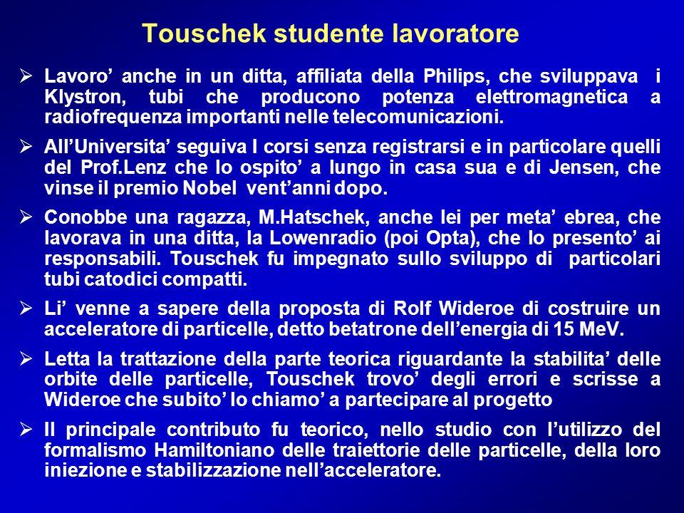 Touschek studente lavoratore
