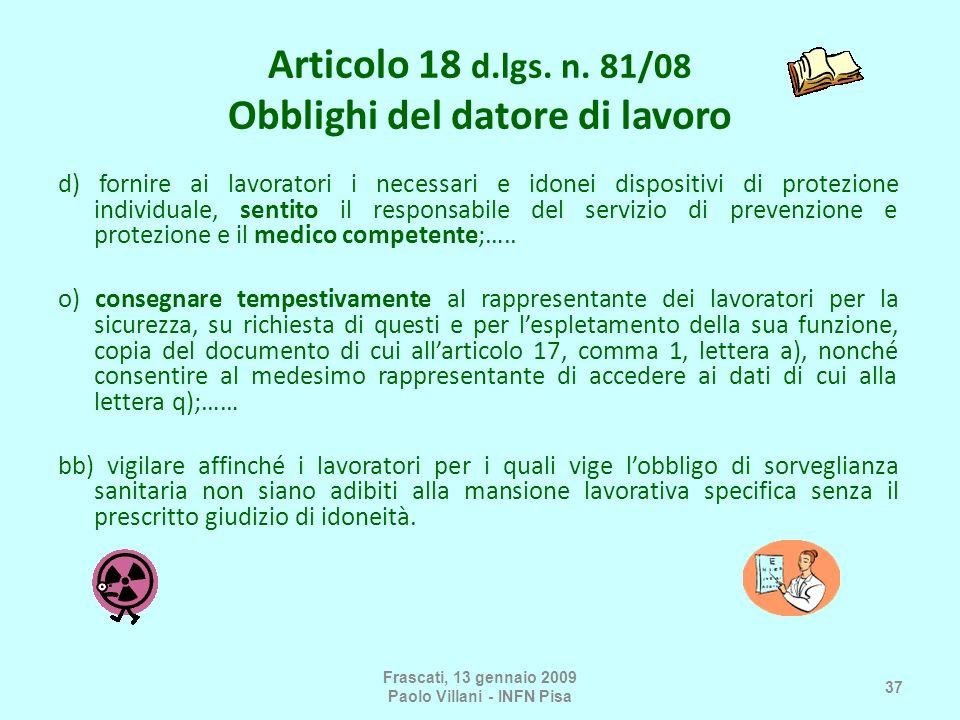 Articolo 18 d.lgs. n. 81/08 Obblighi del datore di lavoro