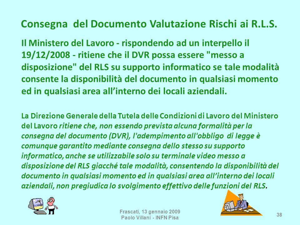 Consegna del Documento Valutazione Rischi ai R.L.S.