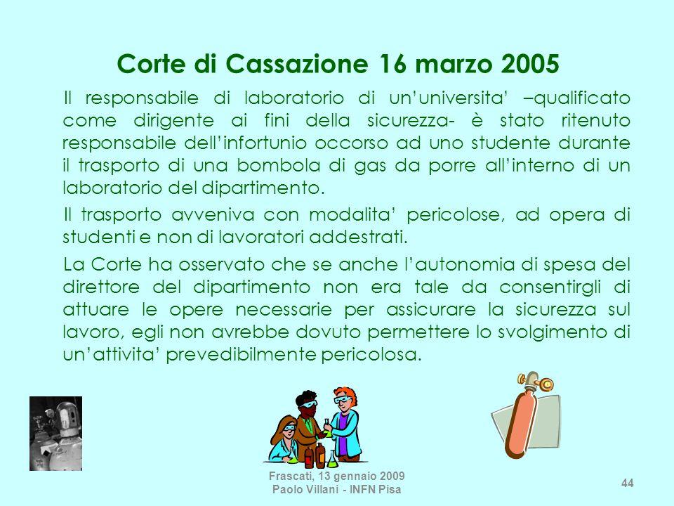 Corte di Cassazione 16 marzo 2005