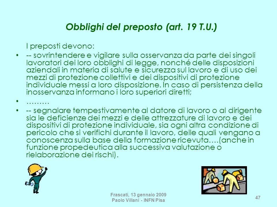Obblighi del preposto (art. 19 T.U.)