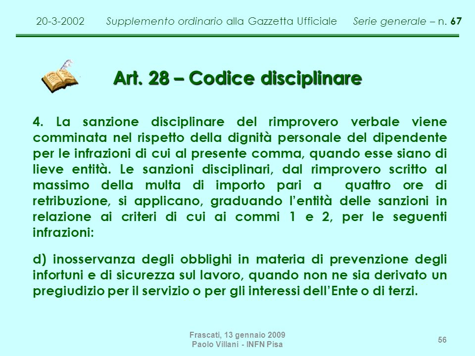 Art. 28 – Codice disciplinare