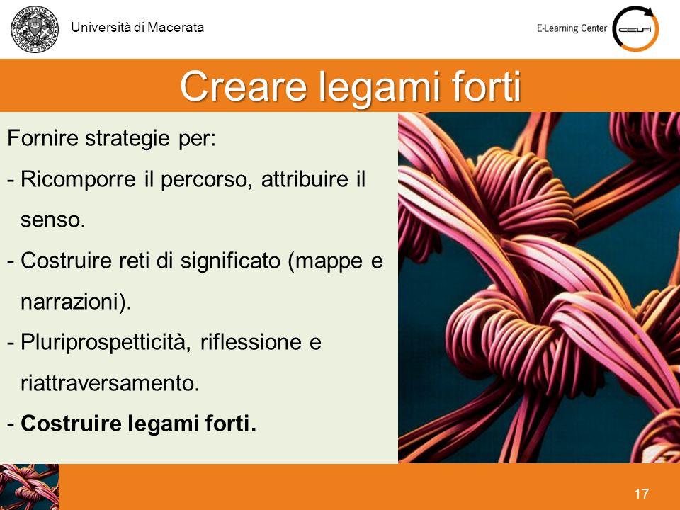 Creare legami forti Fornire strategie per: