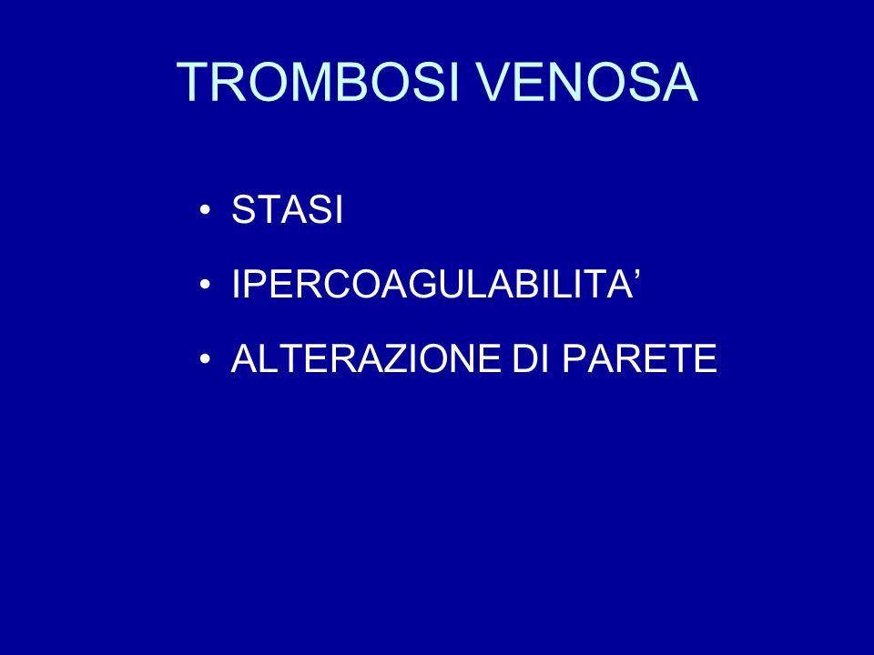 TROMBOSI VENOSA STASI IPERCOAGULABILITA' ALTERAZIONE DI PARETE