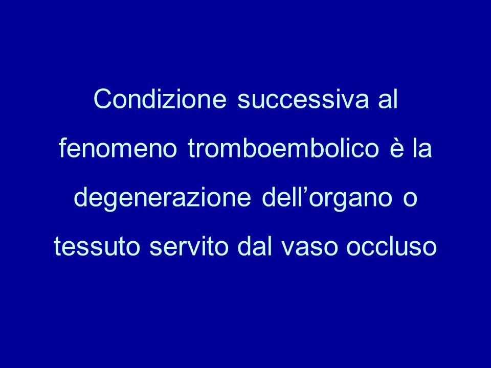 Condizione successiva al fenomeno tromboembolico è la degenerazione dell'organo o tessuto servito dal vaso occluso