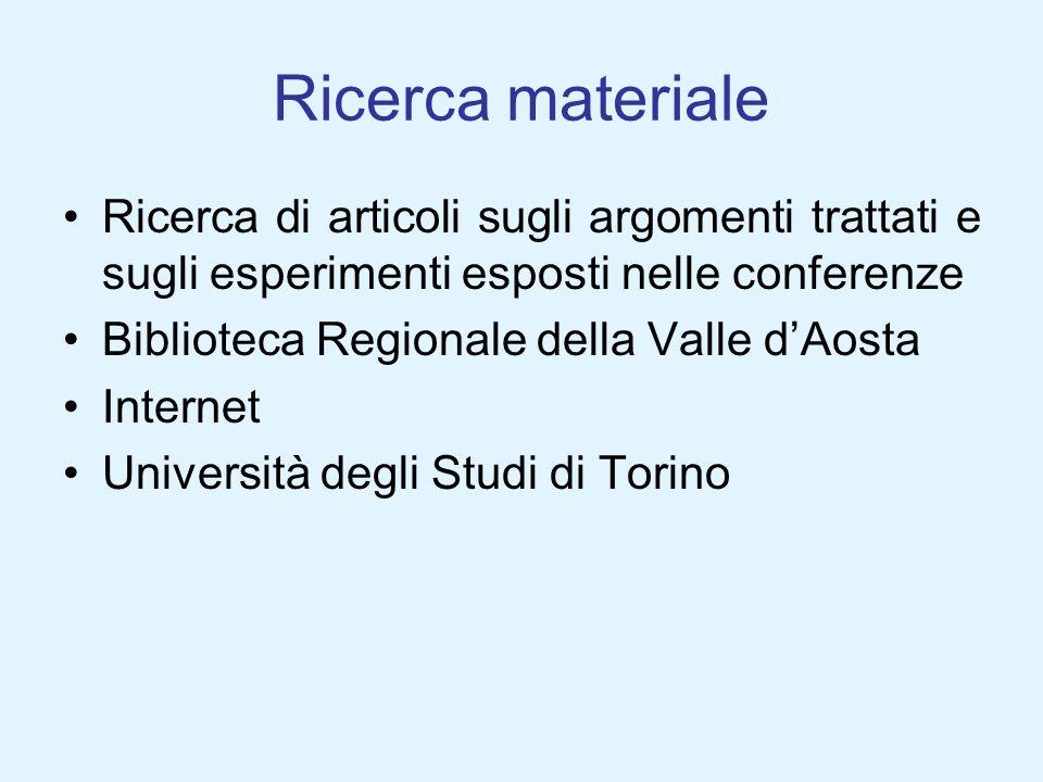 Ricerca materialeRicerca di articoli sugli argomenti trattati e sugli esperimenti esposti nelle conferenze.