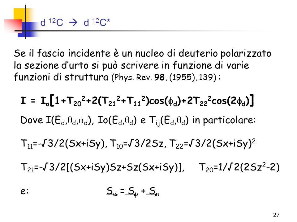 d 12C  d 12C*Se il fascio incidente è un nucleo di deuterio polarizzato. la sezione d'urto si può scrivere in funzione di varie.