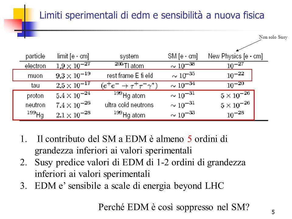 Limiti sperimentali di edm e sensibilità a nuova fisica