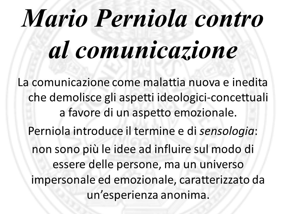 Mario Perniola contro al comunicazione
