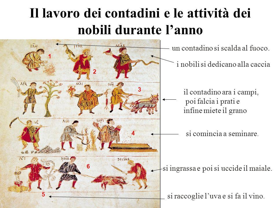 Il lavoro dei contadini e le attività dei nobili durante l'anno