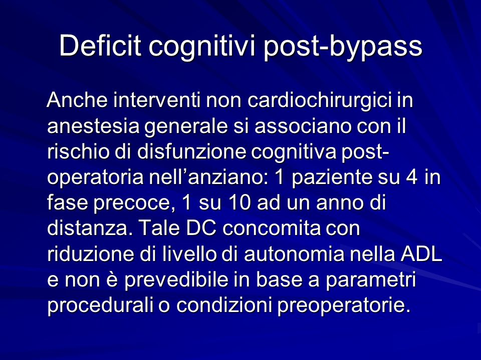 Deficit cognitivi post-bypass