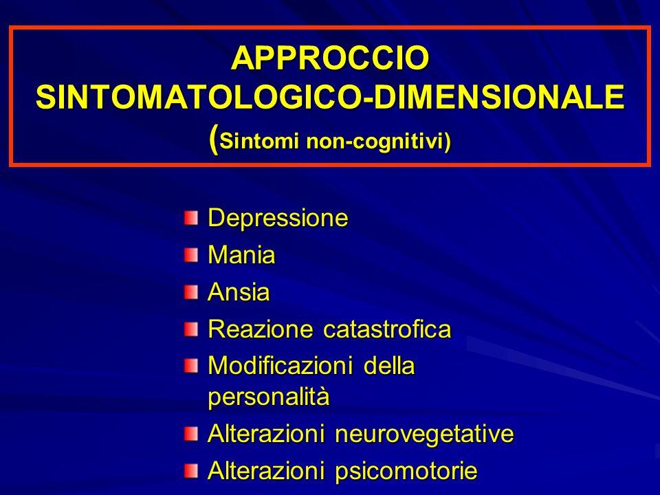 APPROCCIO SINTOMATOLOGICO-DIMENSIONALE (Sintomi non-cognitivi)