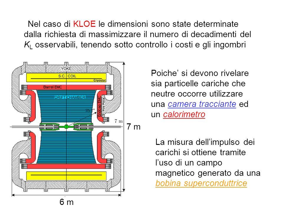 Nel caso di KLOE le dimensioni sono state determinate dalla richiesta di massimizzare il numero di decadimenti del KL osservabili, tenendo sotto controllo i costi e gli ingombri