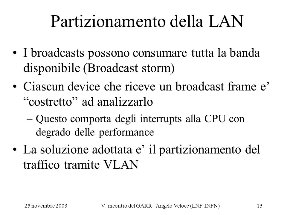 Partizionamento della LAN