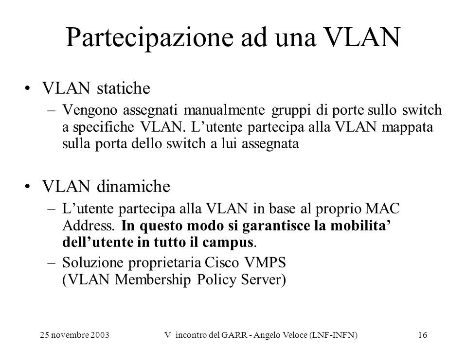 Partecipazione ad una VLAN