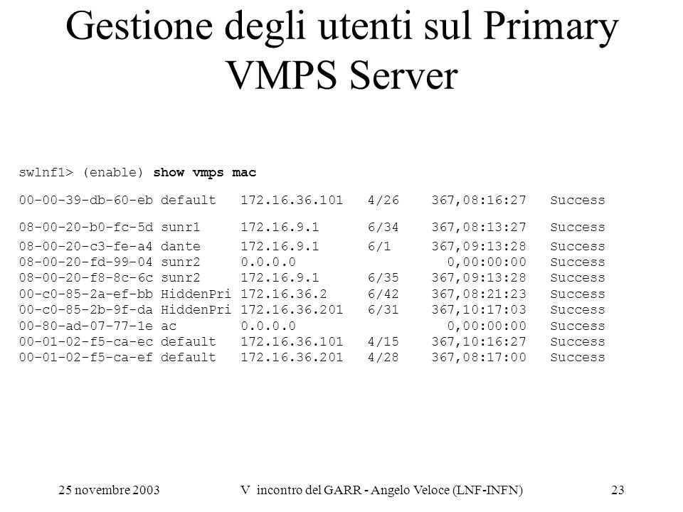 Gestione degli utenti sul Primary VMPS Server