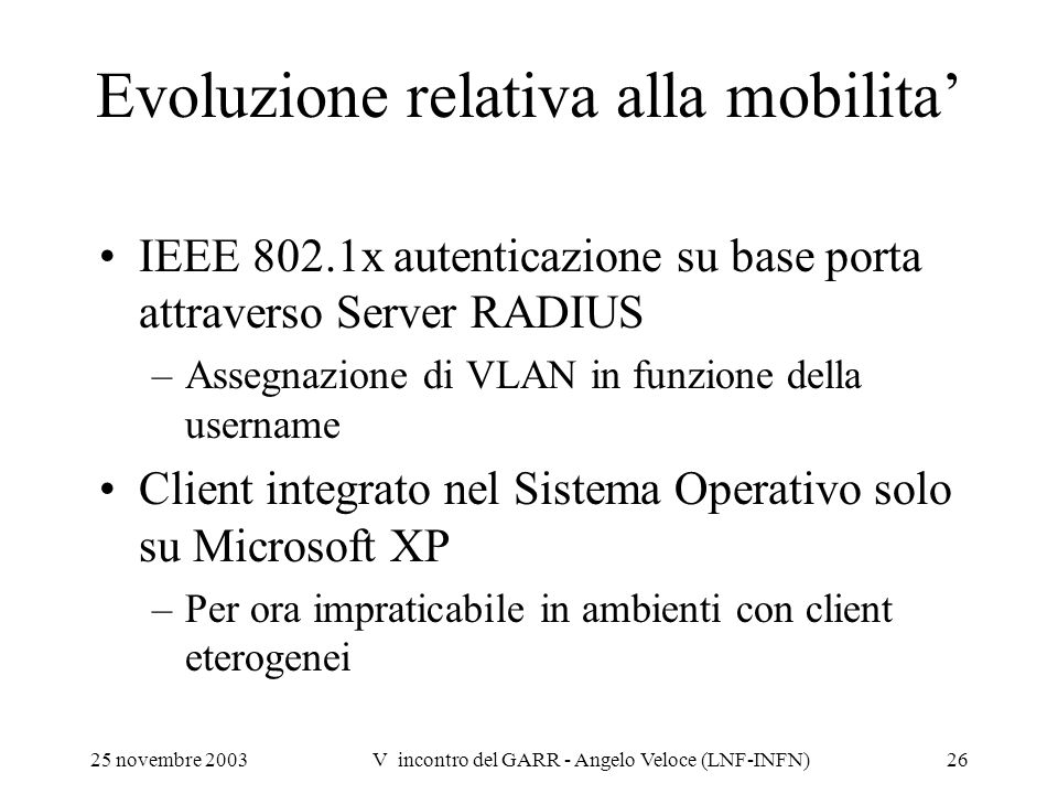 Evoluzione relativa alla mobilita'