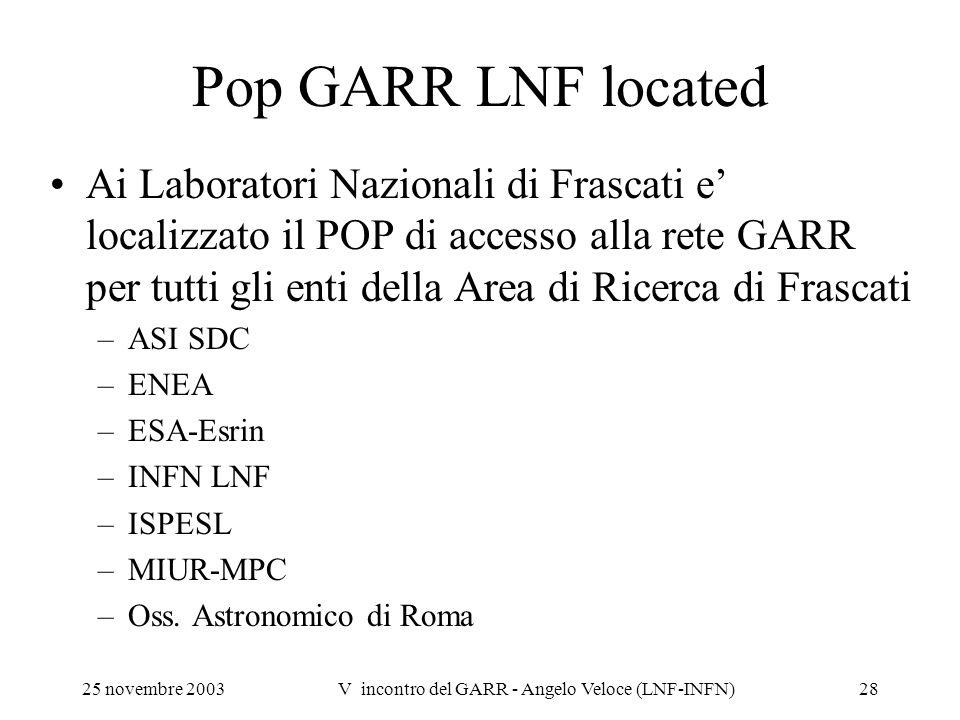 V incontro del GARR - Angelo Veloce (LNF-INFN)