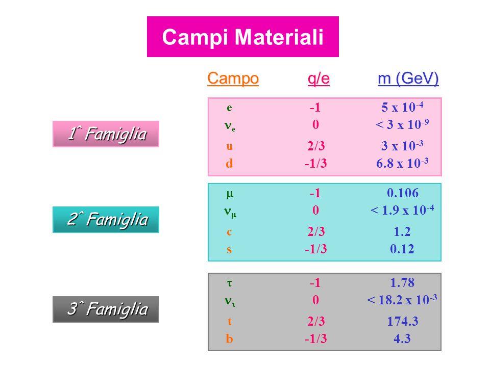 Campi Materiali Campo q/e m (GeV) 1^ Famiglia 2^ Famiglia 3^ Famiglia
