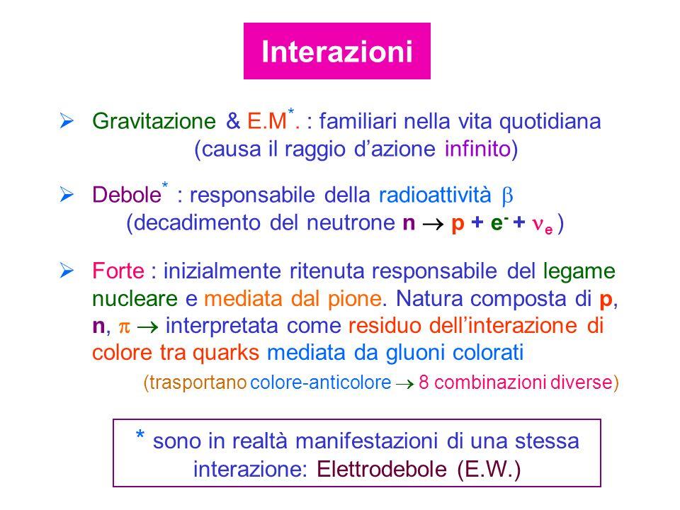 Interazioni Gravitazione & E.M*. : familiari nella vita quotidiana (causa il raggio d'azione infinito)