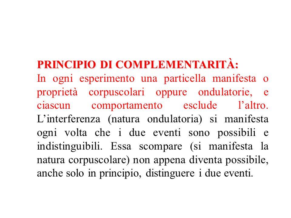 PRINCIPIO DI COMPLEMENTARITÀ: