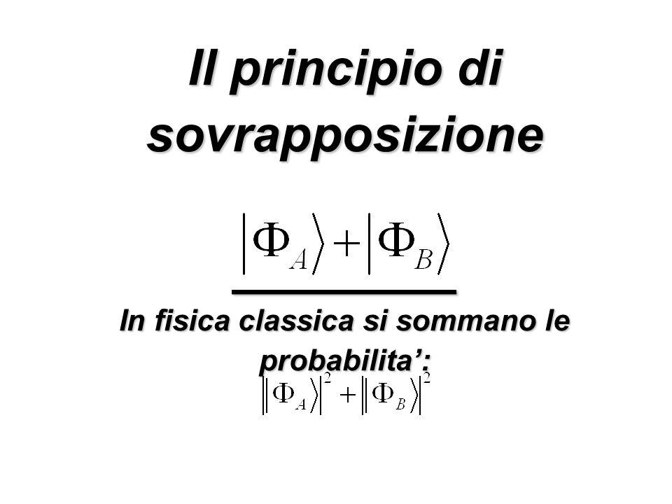 Il principio di sovrapposizione ________ In fisica classica si sommano le probabilita':
